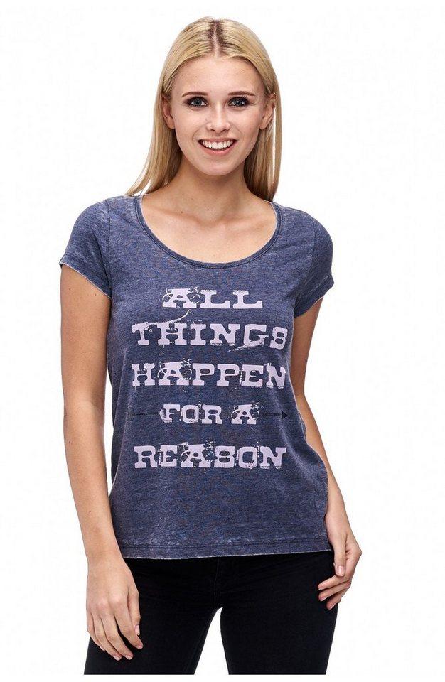 Decay T-Shirt mit Ärmelaufschlag und Paillettenschriftzug in blau