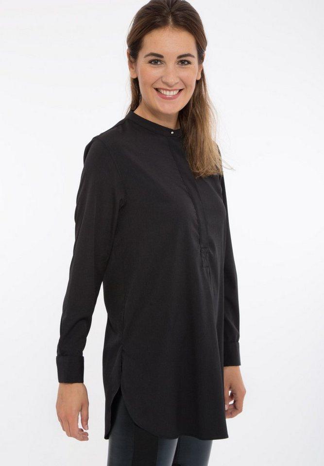 Mexx Longtunika im Hemdblusen-Stil mit Schlitzen in schwarz
