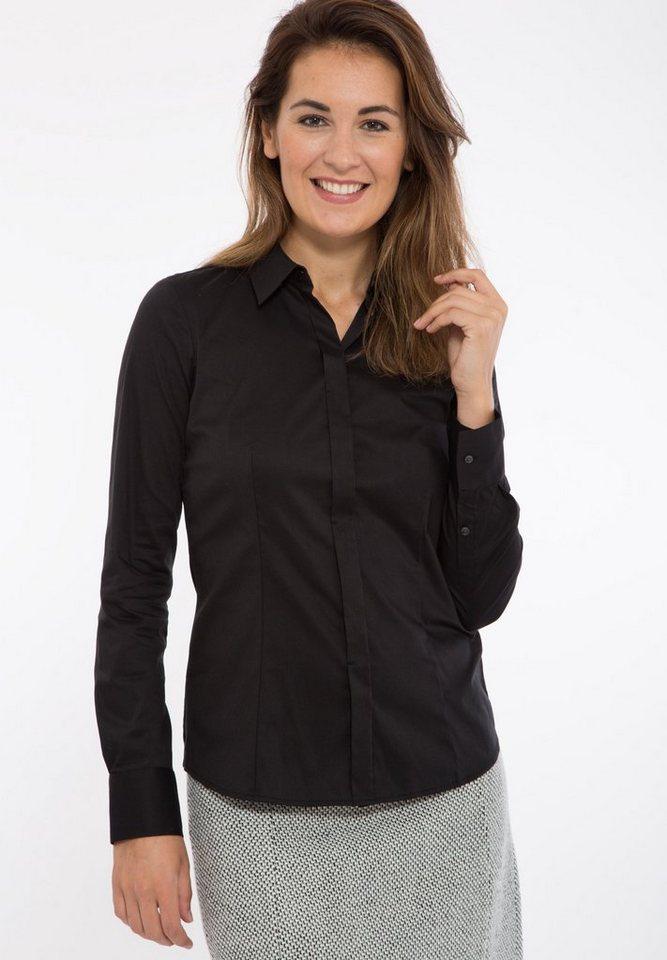 Mexx Klassische Bluse mit verdeckter Knopfleiste in schwarz