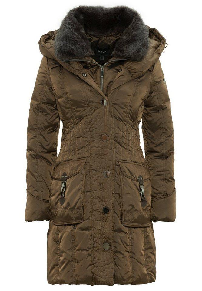 Mexx Daunenmantel Kapuze mit Fake Fur und Taschen mit Karabinerverschlüssen in brown