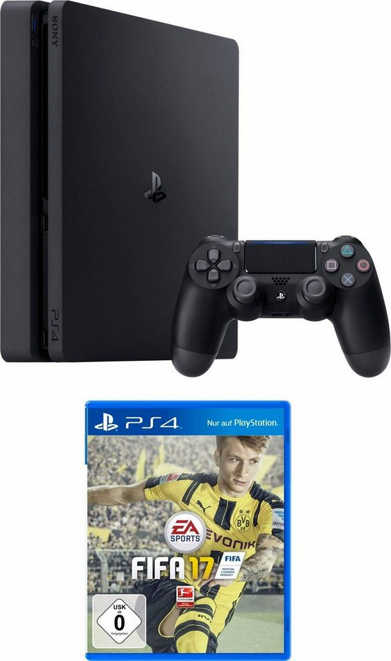 PlayStation 4 (PS4) 500GB Slim + Fifa 17 in schwarz