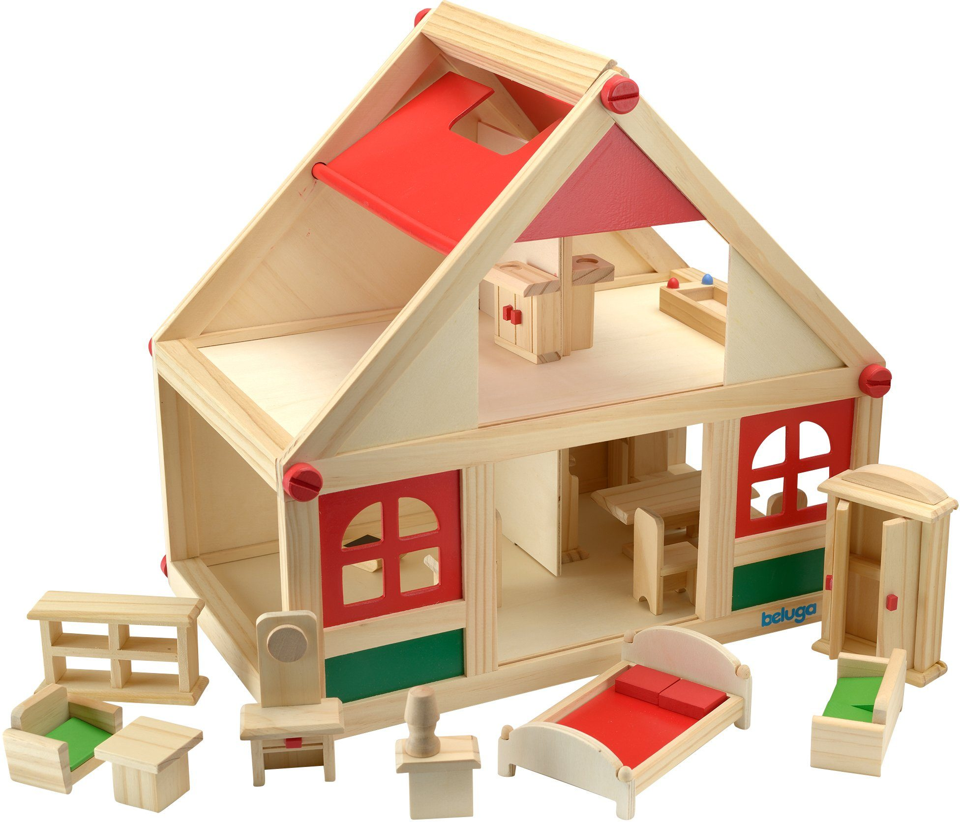 Beluga Spielset, »Puppenhaus mit Möbeln«