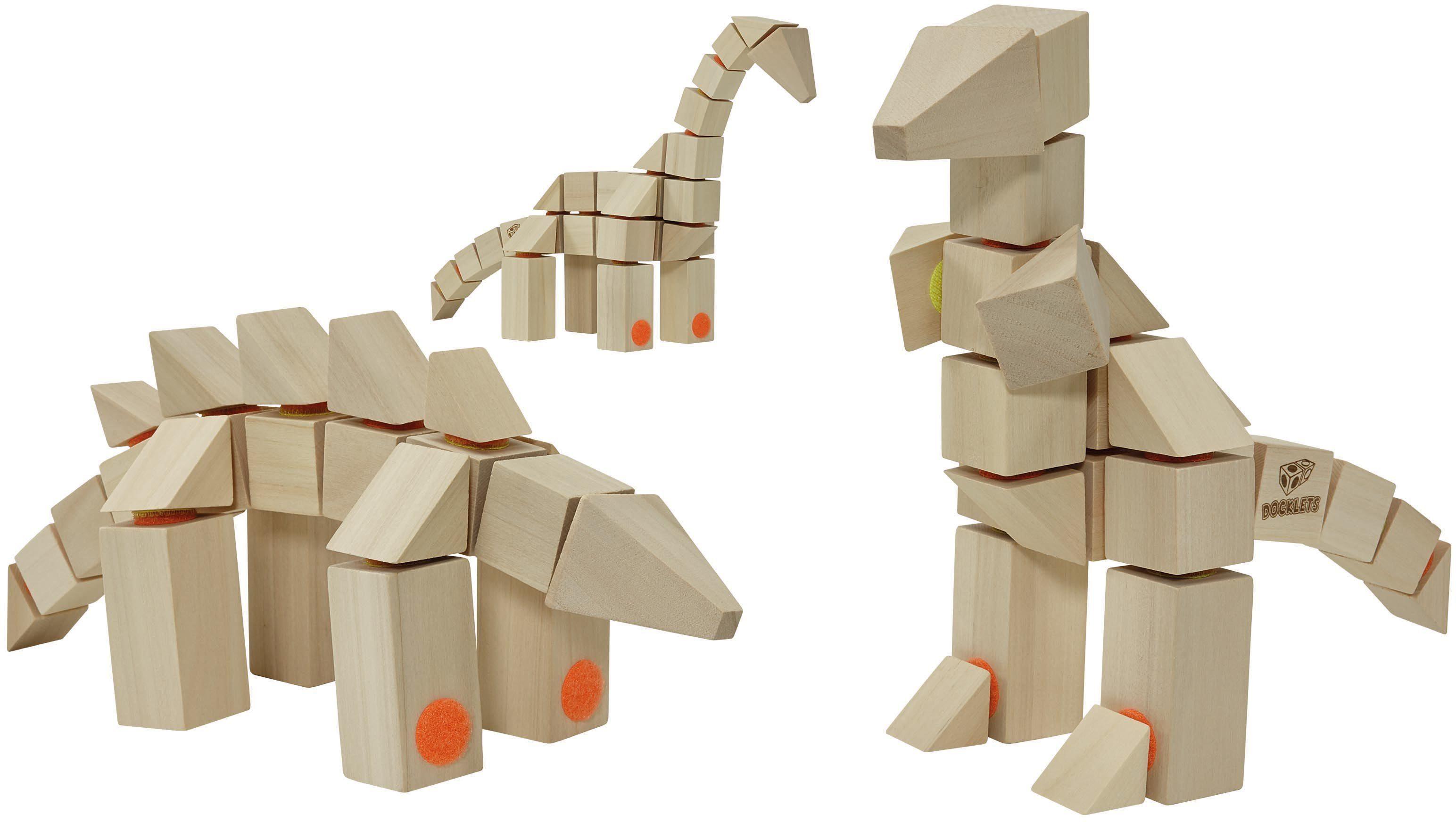 Holzbausteine mit Klettverbindung, »DOCKLETS® Dinosaurs Set«