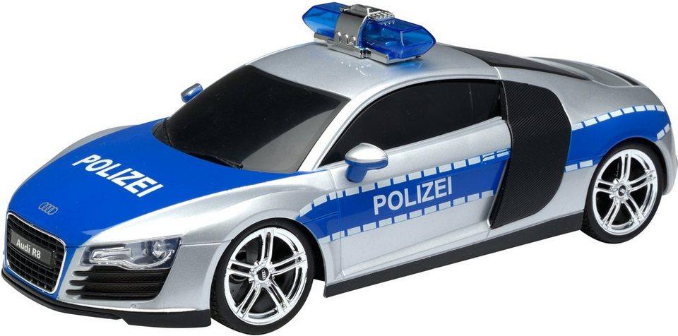 RC Komplett Set, »XQ Audi R8 Polizei 27 Mhz 1:18« in silber-blau metallic