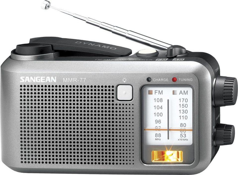 Sangean tragbares Kurbelradio (UKW/MW, Sirene) »MMR-77« in Grau