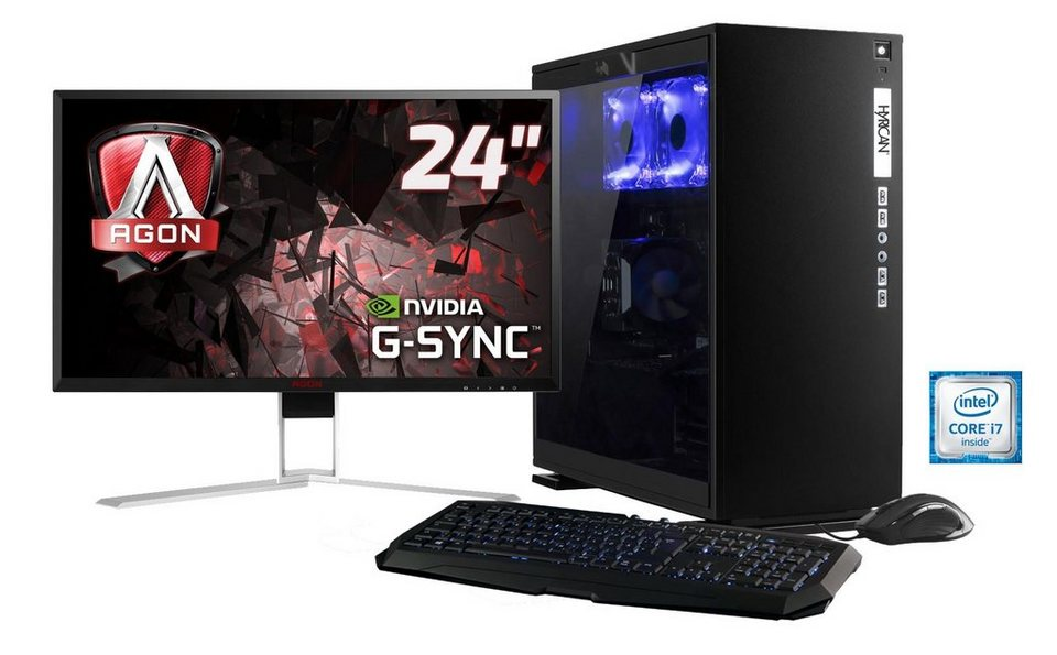 Hyrican Gaming PC Set, Intel® i7-6700K, GeForce® GTX1070 + Monitor »Elegance noir SET01103«
