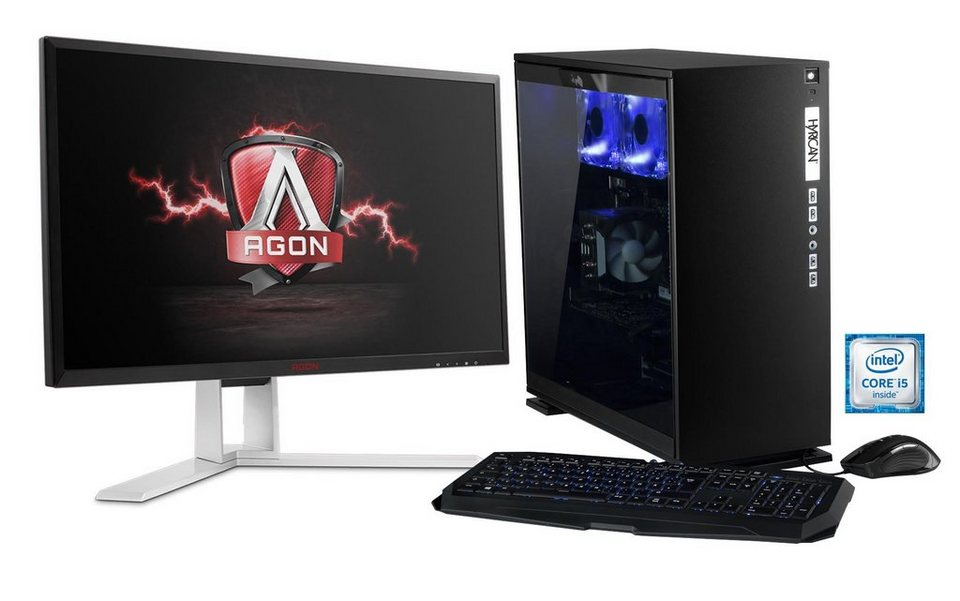 Hyrican Gaming PC Set, Intel® i5-6600, GeForce® GTX1070 + Monitor »Elegance noir SET01105«