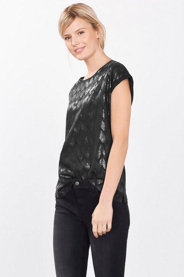 ESPRIT CASUAL Shirt mit Folien-Print, 100% Baumwolle in BLACK