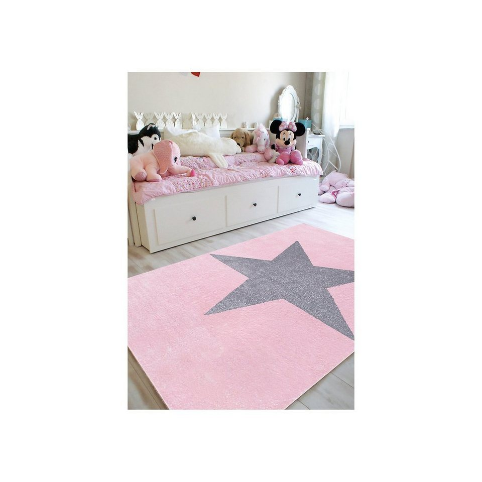 Happy Rugs Teppich, STAR rosa/silbergrau in rosa