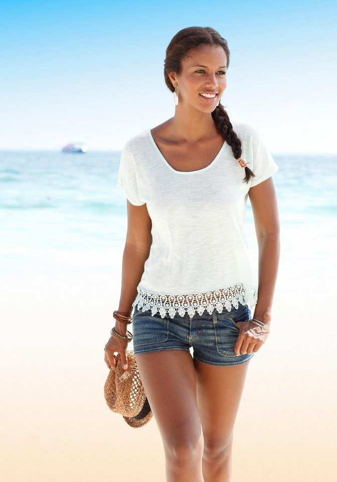 LASCANA Strandpullover mit Spitze in creme