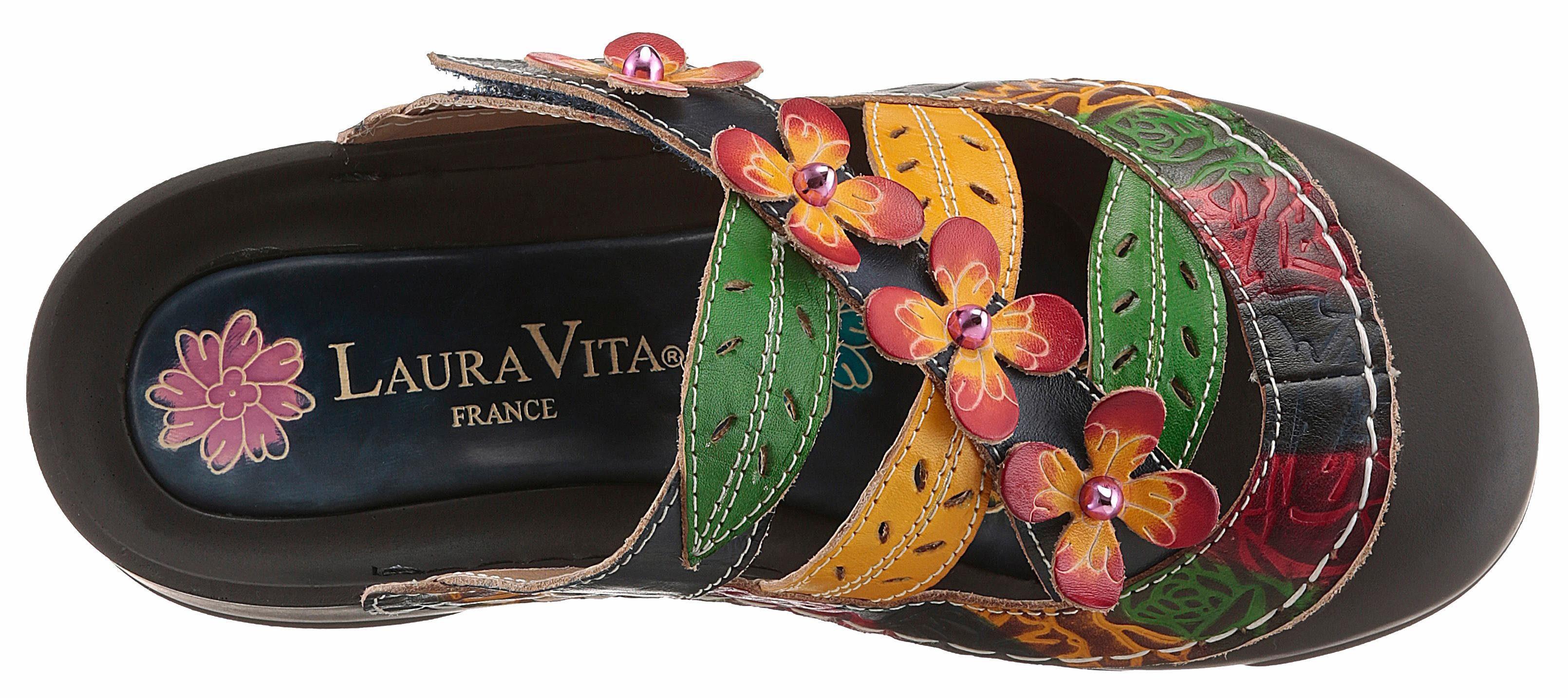 LAURA VITA Clog, mit schönen Blüten online kaufen  dunkelbraun-bunt