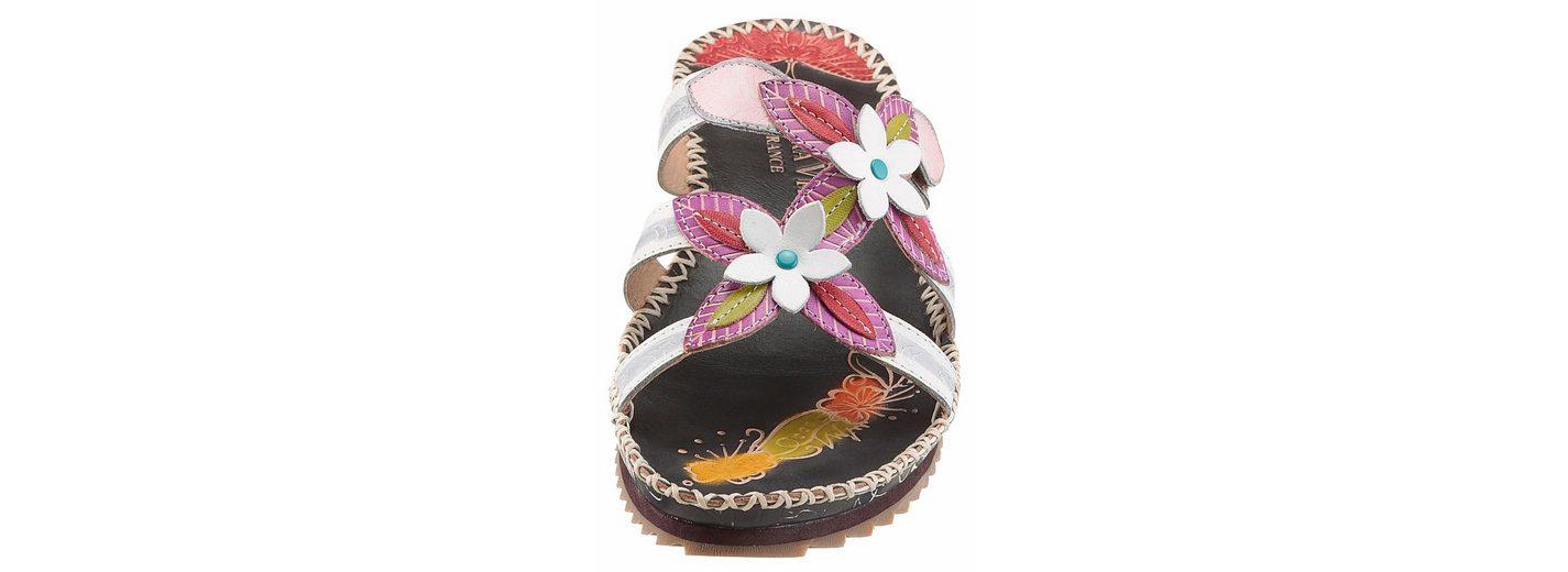 LAURA VITA Pantolette, mit schönen Lederblüten