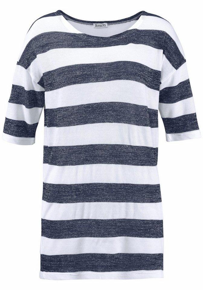 Boysen's Longshirt mit Streifen und Glanzgarnen in marine-weiß