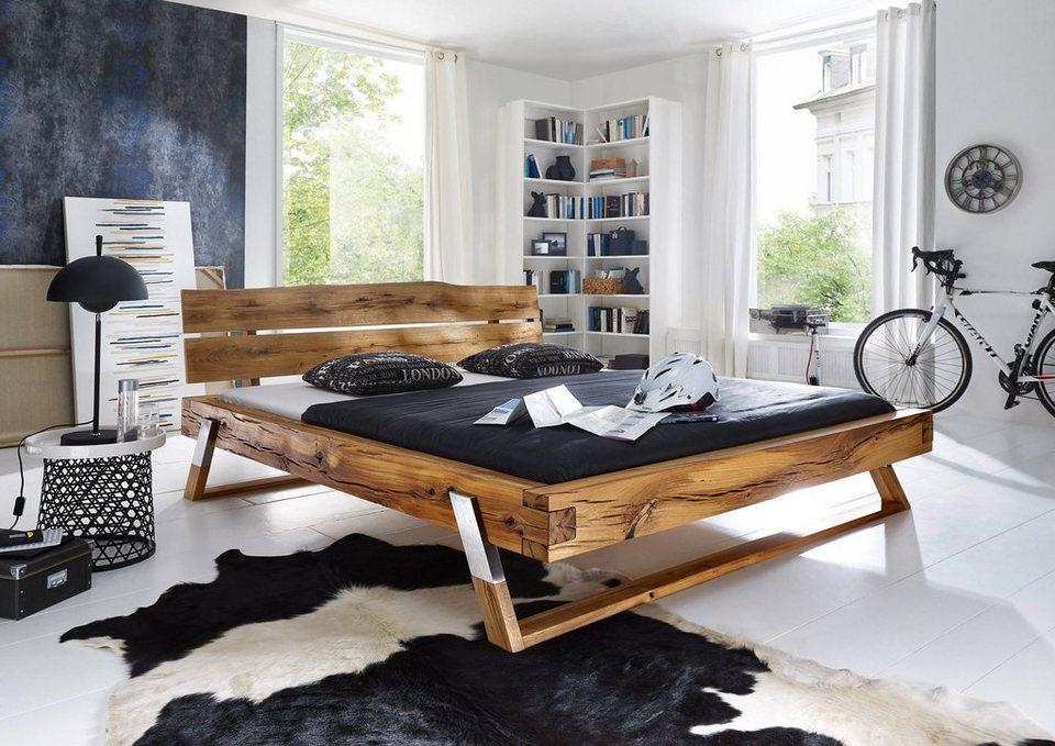 SalesFever Balkenbett mit Edelstahlfüßen »Bojan«