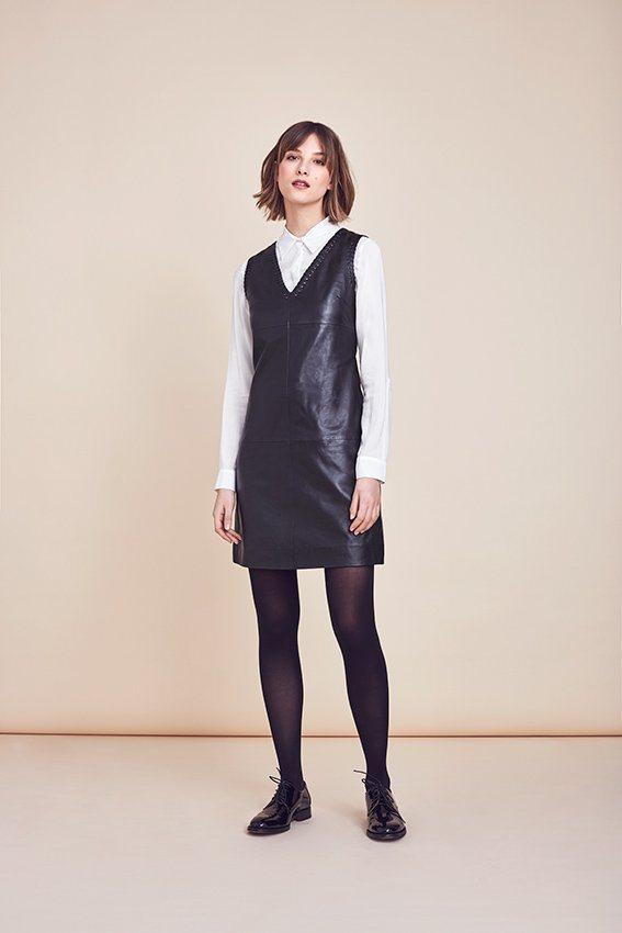 MORE&MORE Lederkleid, schwarz in schwarz