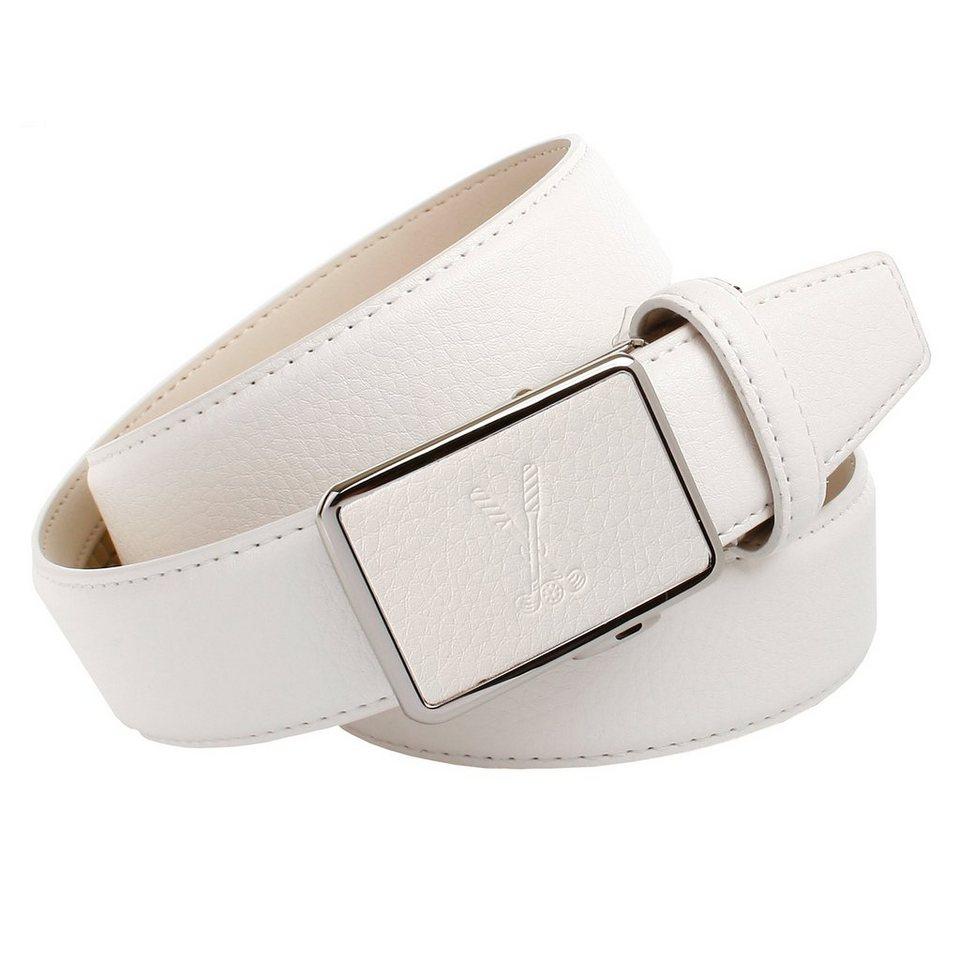 Anthoni Crown Ledergürtel genarbt mit Golf-Prägung in Weiß