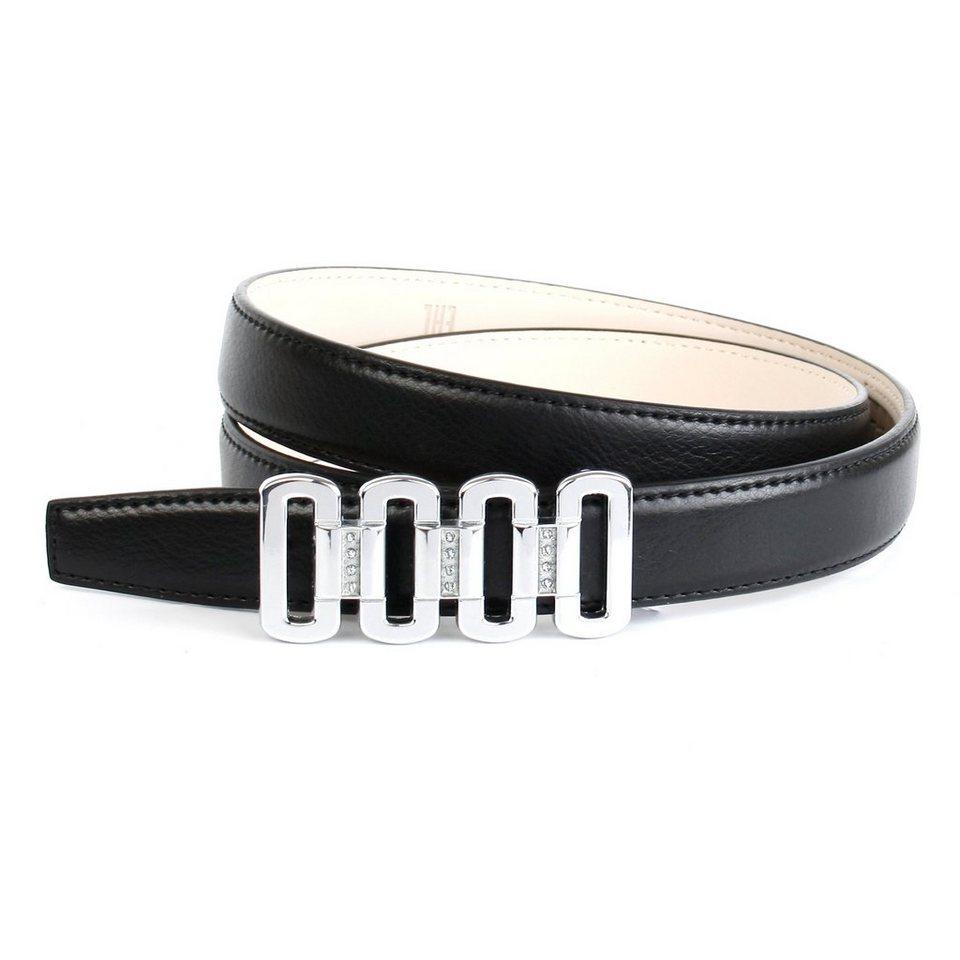 Anthoni Crown Ledergürtel mit Koppelschließe in schwarz