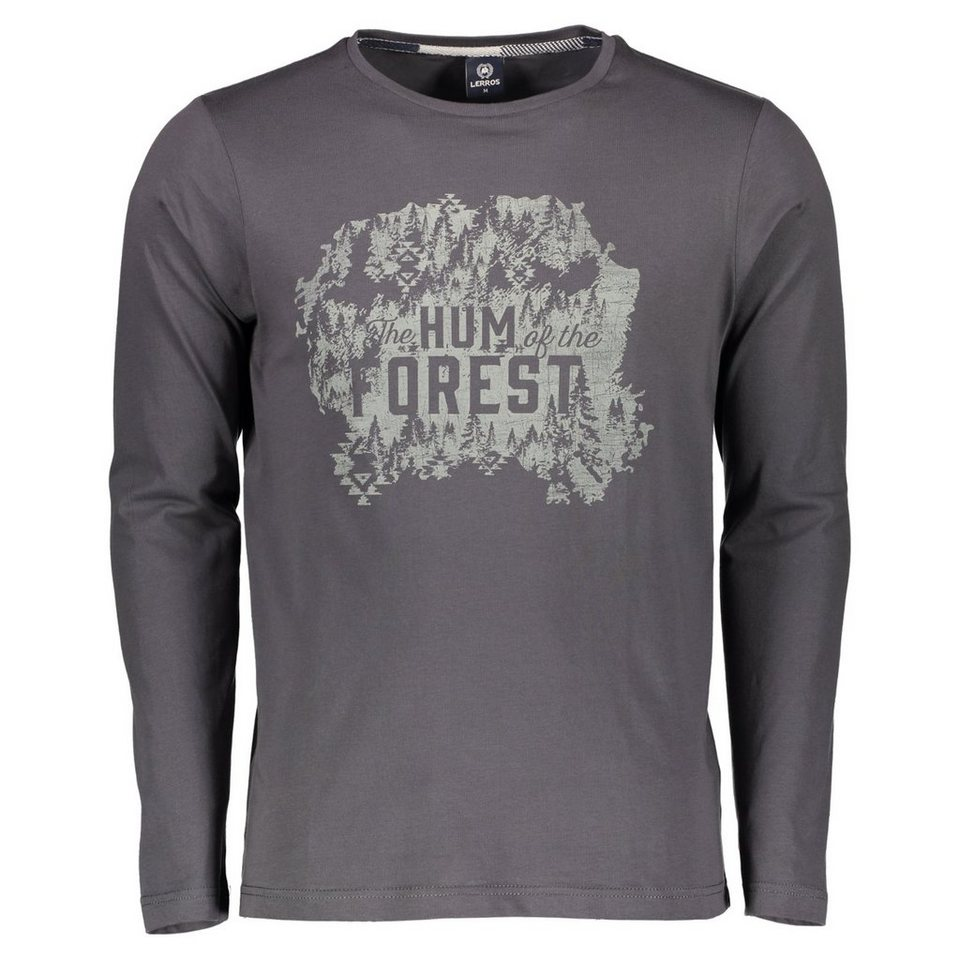 LERROS Longsleeve mit Brustprint in GREY