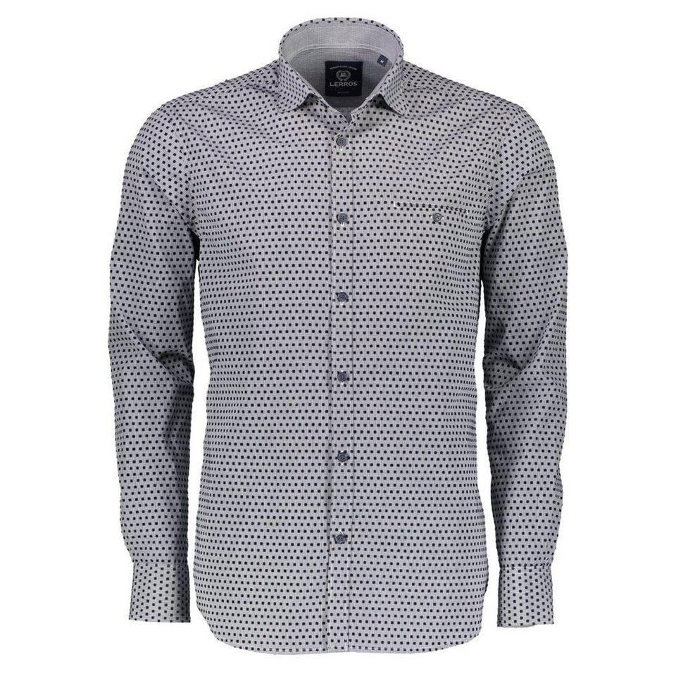 LERROS Langarmhemd mit beflocktem Mini-Karo in NAVY