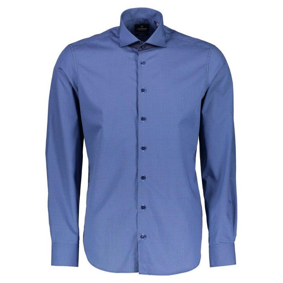 LERROS PREMIUM Hemd mit Dot-Print in SLATE BLUE