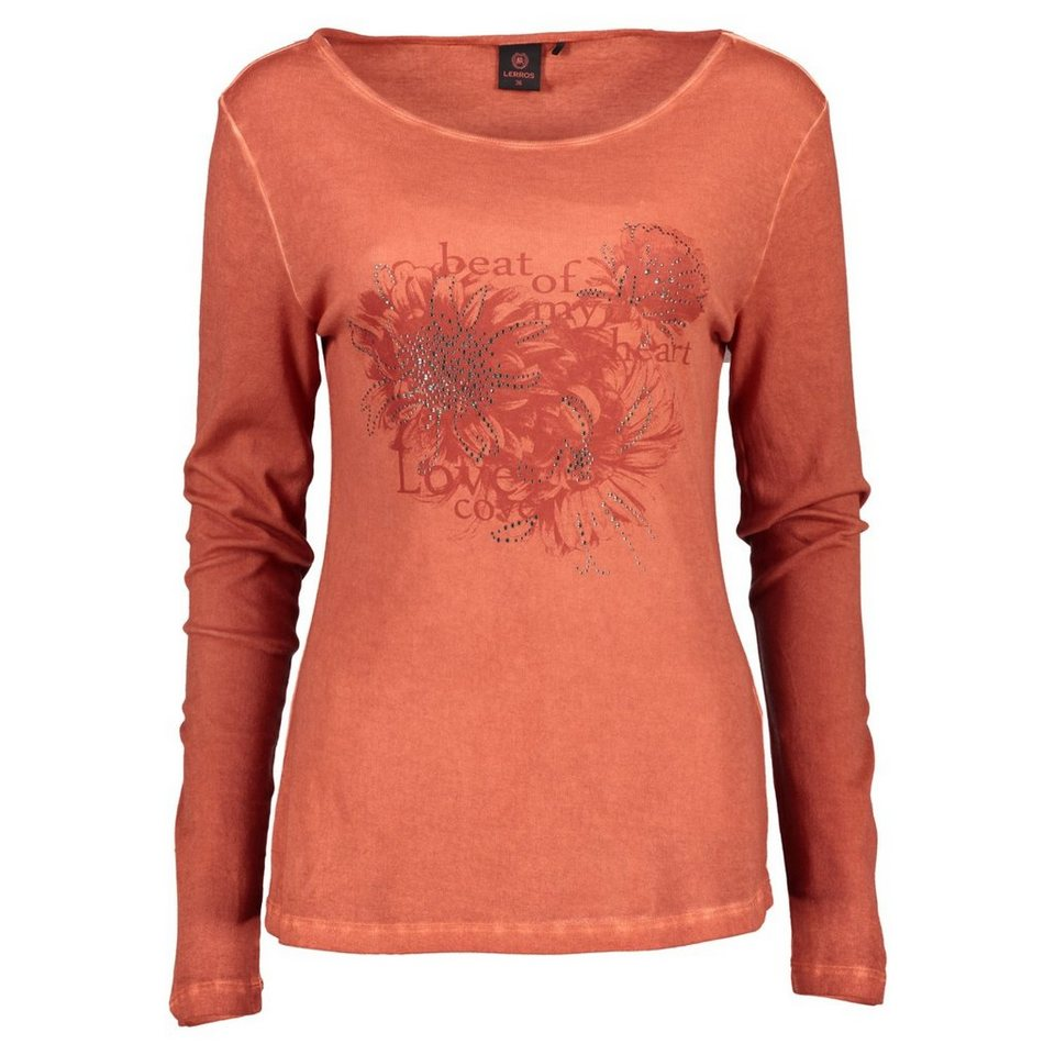 LERROS LERROS Langarmshirt mit trendigem Print in BURNED ORANGE