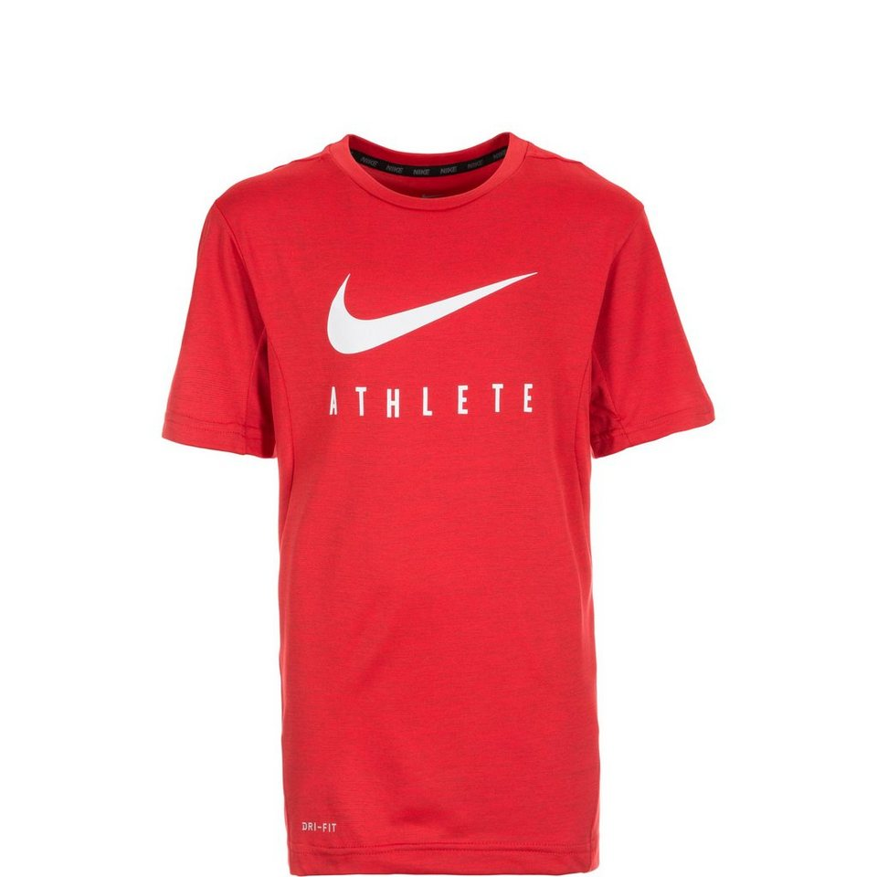 NIKE Dry Trainingsshirt Kinder in rot / weiß