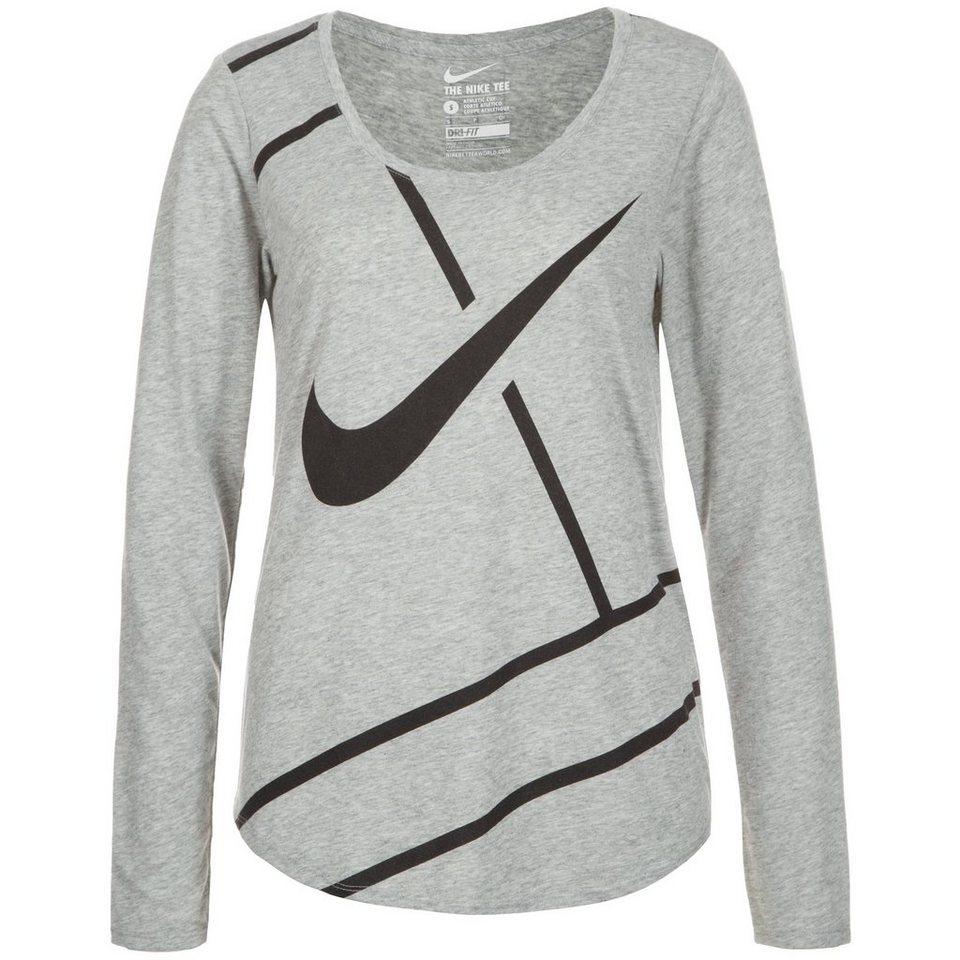 NIKE Court Practice Tennisshirt Damen in grau / schwarz