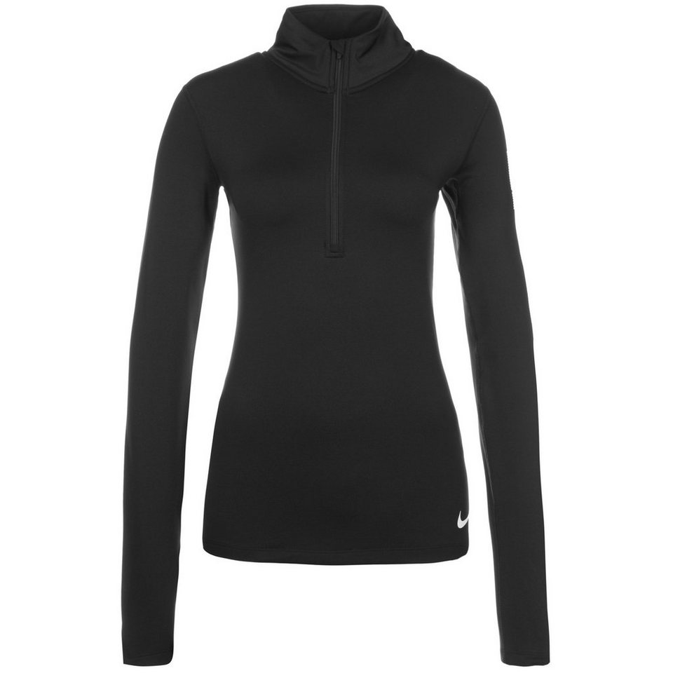 NIKE Pro Warm Logo Trainingslongsleeve Damen in schwarz / weiß