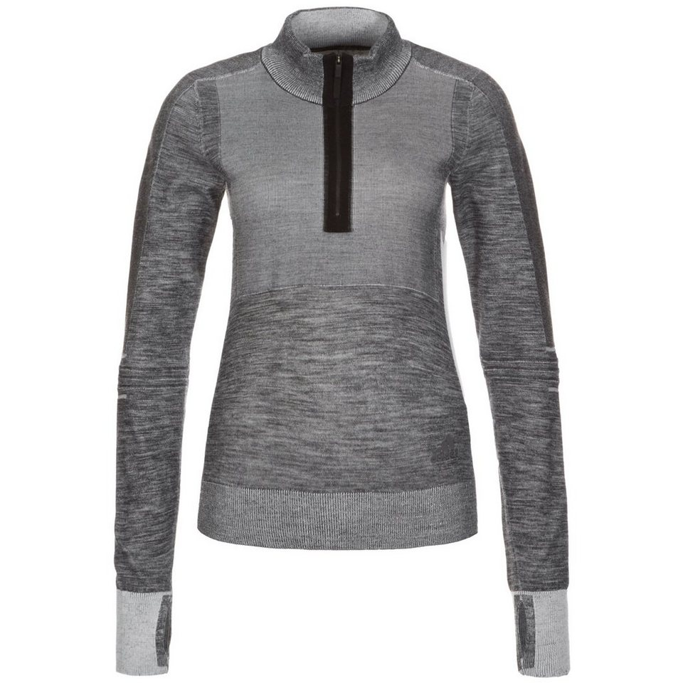 adidas Performance Ultra Wool Primeknit 1/2 Zip Laufsweat Damen in grau / schwarz