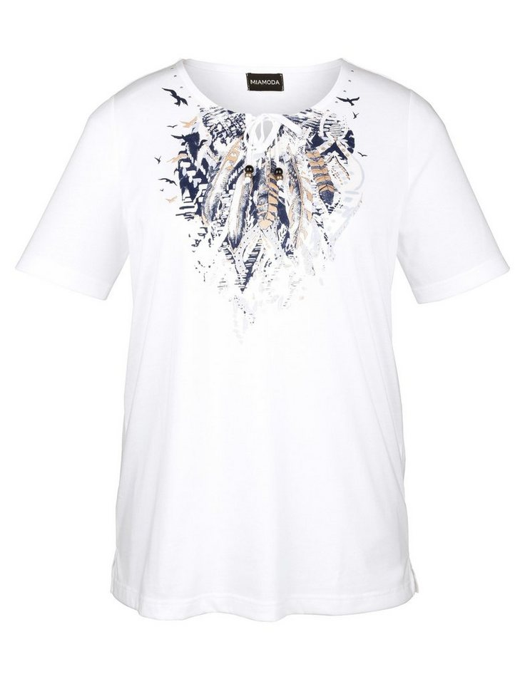 MIAMODA Shirt mit Bindeband am Ausschnitt in offwhite/bedruckt