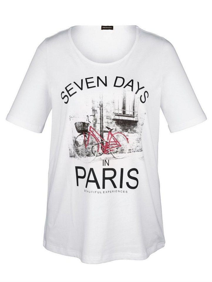 MIAMODA Shirt mit Paris-Druckmotiv in weiß/schwarz/rot