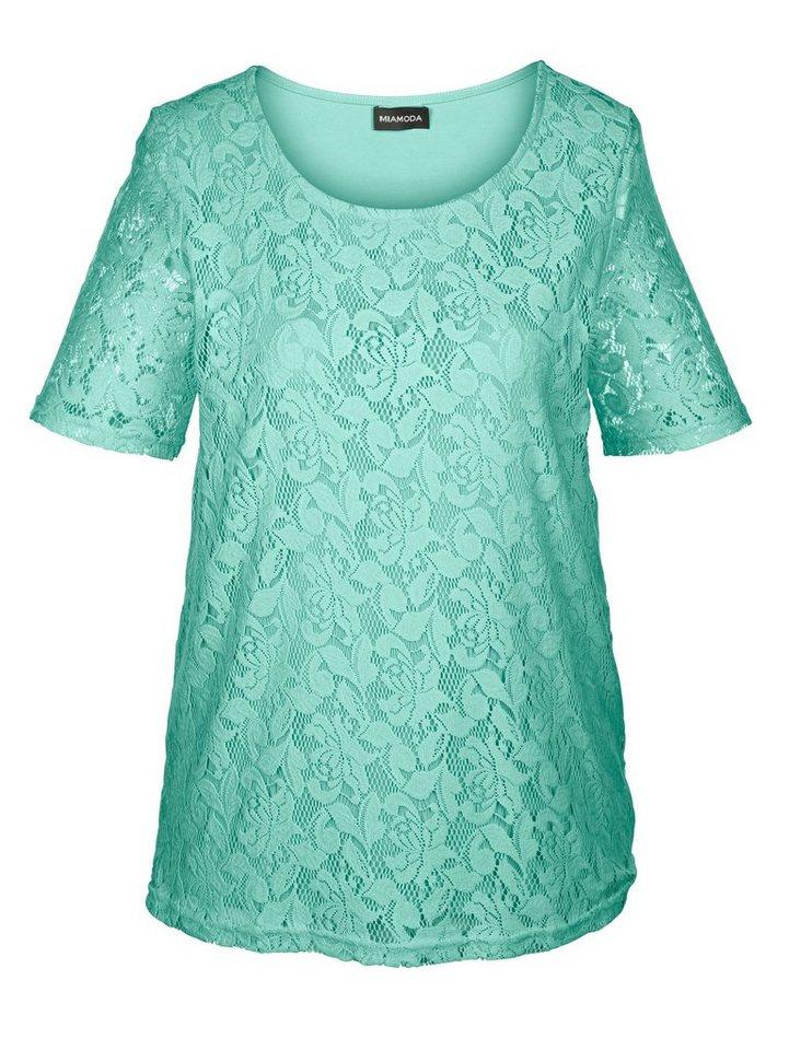 MIAMODA Shirt mit Spitze in mint