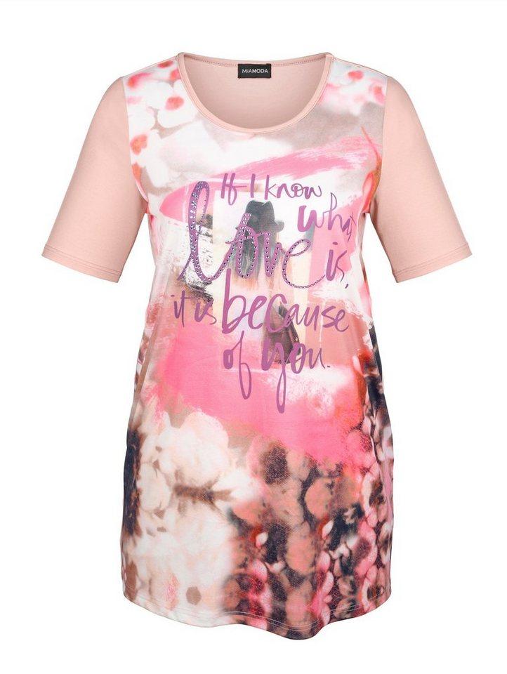 MIAMODA Longshirt mit Dekosteinen in rose