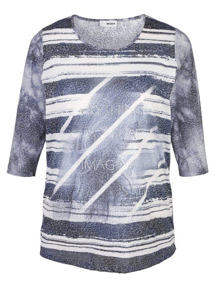 MIAMODA Shirt mit Streifen vorne in blau/grau