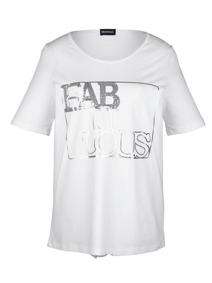 MIAMODA Shirt mit Pailletten in weiss/silber