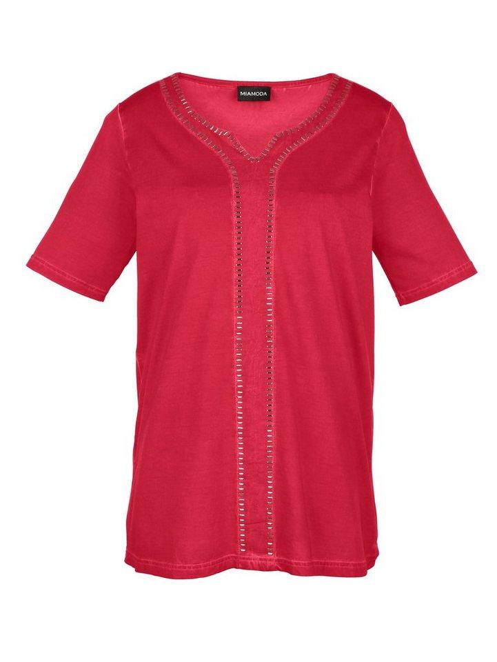 MIAMODA Shirt mit Nietenzier in rot
