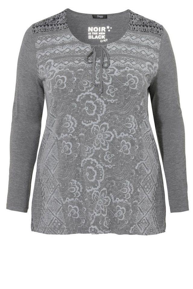 FRAPP Leicht ausgestelltes Longshirt mit Front-Print in STEEL MELANGE