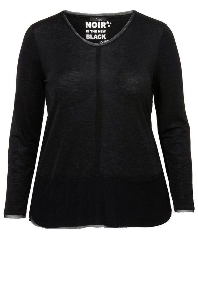 FRAPP Einfarbiges Langarm-Shirt mit feinen Details in BLACK