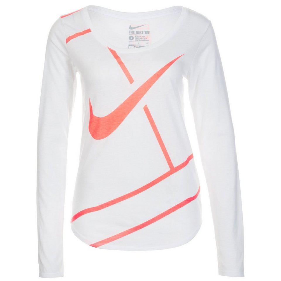 NIKE Court Practice Tennisshirt Damen in weiß / neonorange