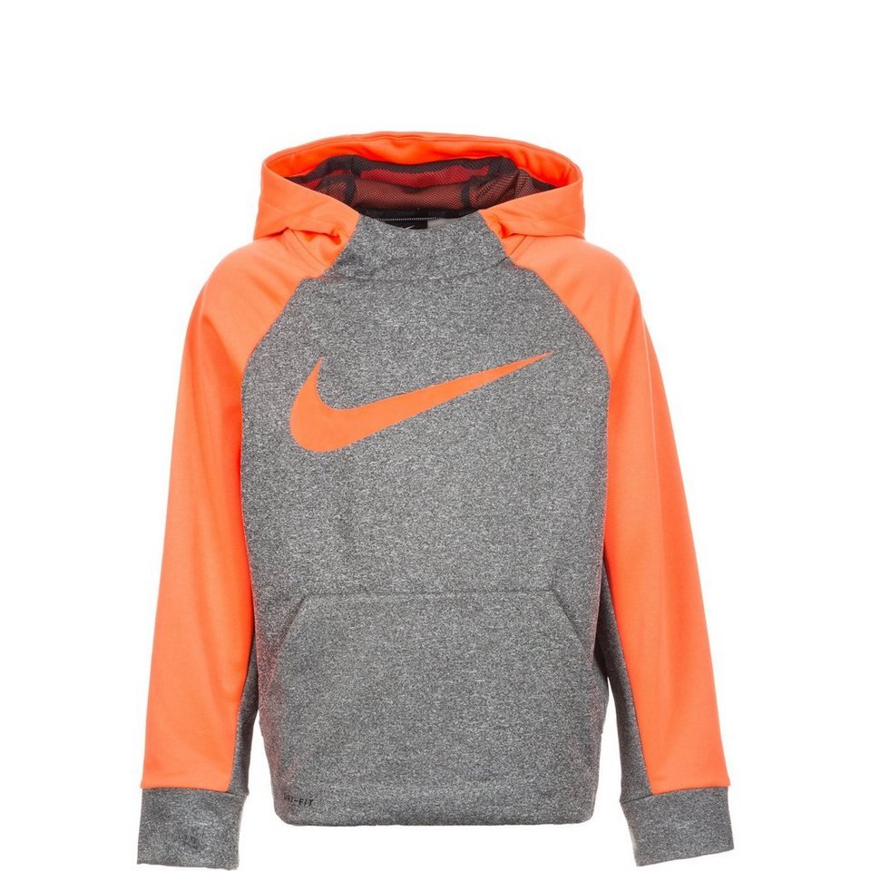 NIKE Therma Trainingskapuzenpullover Kinder in neonorange / grau