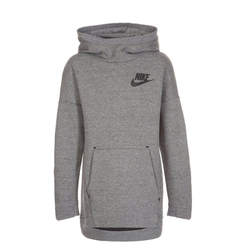 NIKE Tech Fleece Trainingskapuzenpullover Kinder in grau / schwarz