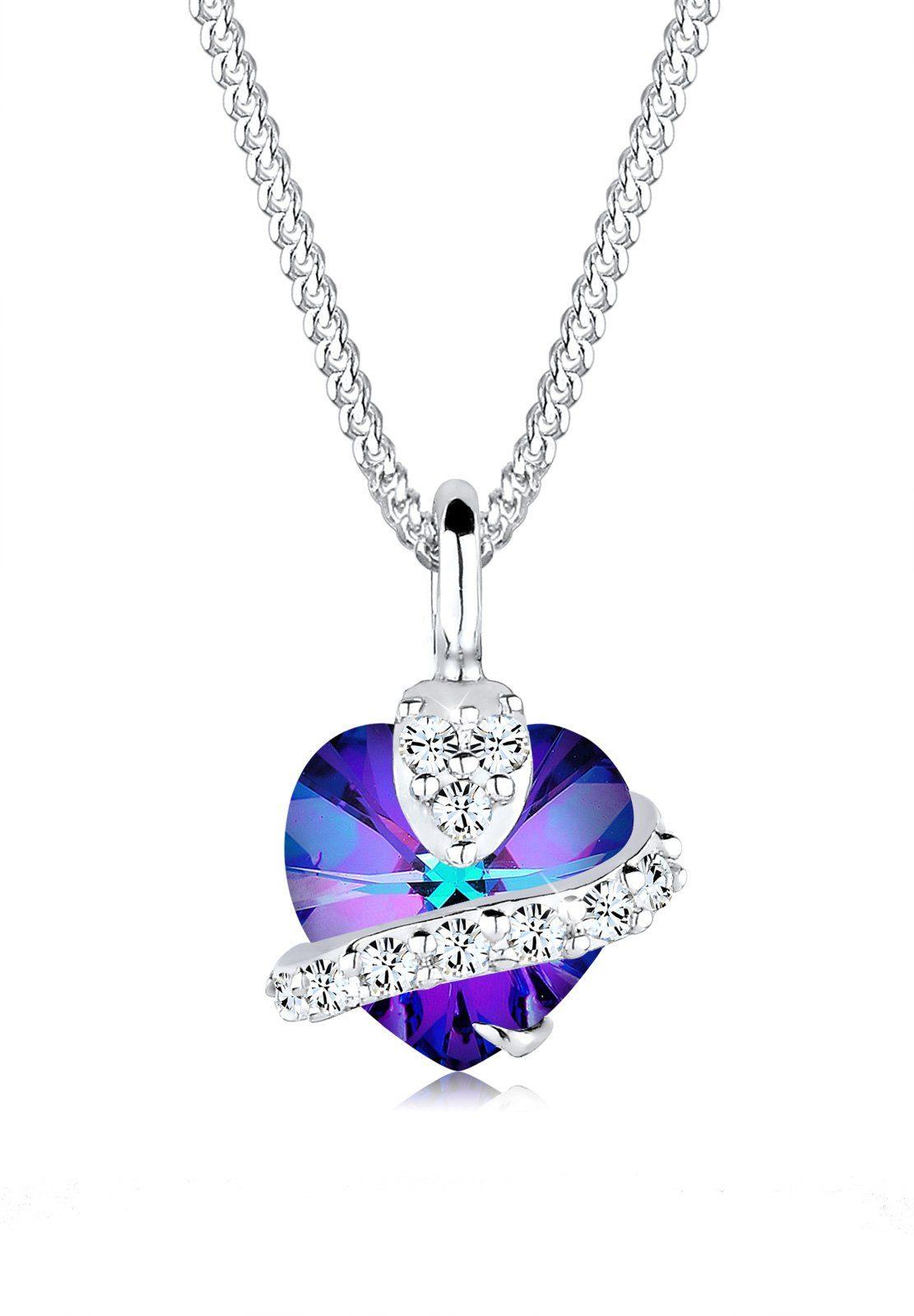 Elli Collierkettchen »Herz Glamourös Swarovski® Kristalle 925 Silber«