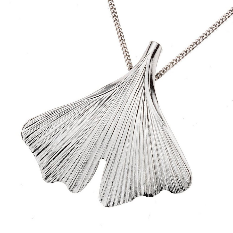 Zeeme Anhänger mit Kette »925/- Sterling Silber 45cm lang Ginko« in Silbergrau
