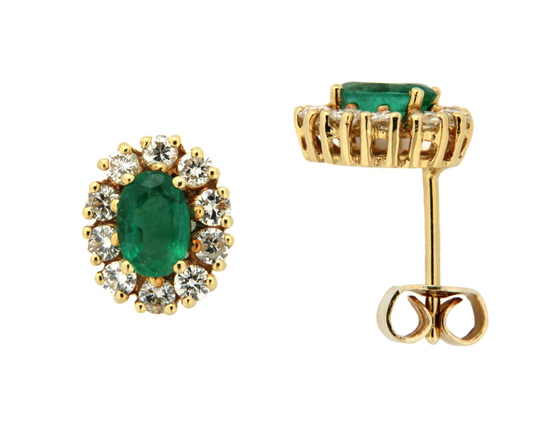 Orolino Ohrstecker »585/- Gelbgold mit Brillant und Smaragd«