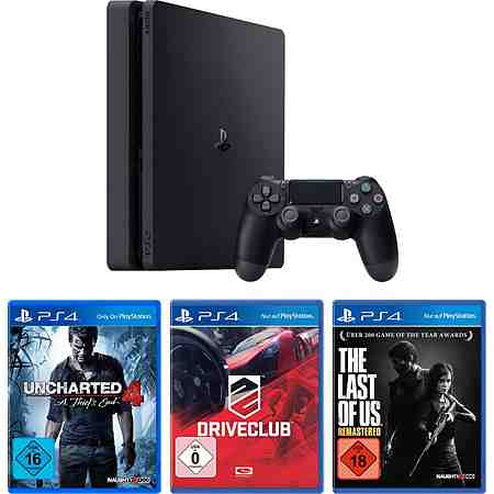 PlayStation 4 (PS4) 1TB Slim + Uncharted 4 + Driveclub + The Last of Us