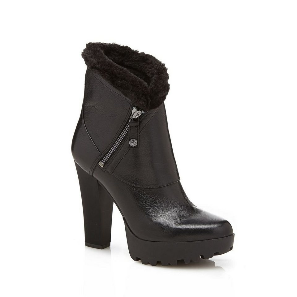 Guess ANKLE BOOT CLANCI AUS LEDER in Schwarz