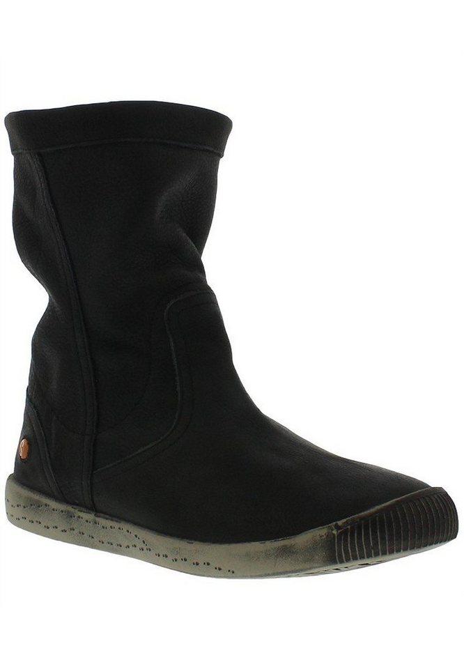 softinos Stiefelette »softinos IGGY TOP smooth leather HW16« in schwarz
