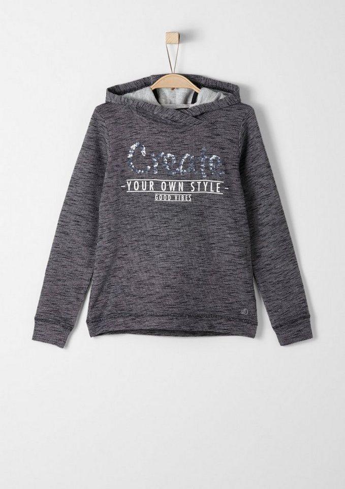 s.Oliver RED LABEL Junior Kapuzensweatshirt mit Paillettenapplikation für Mädchen in black melange