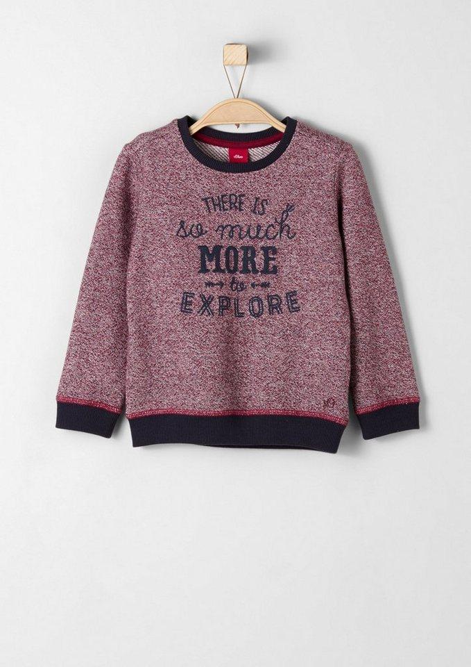 s.Oliver RED LABEL Junior Sweatshirt mit Wording für Jungen in light red AOP