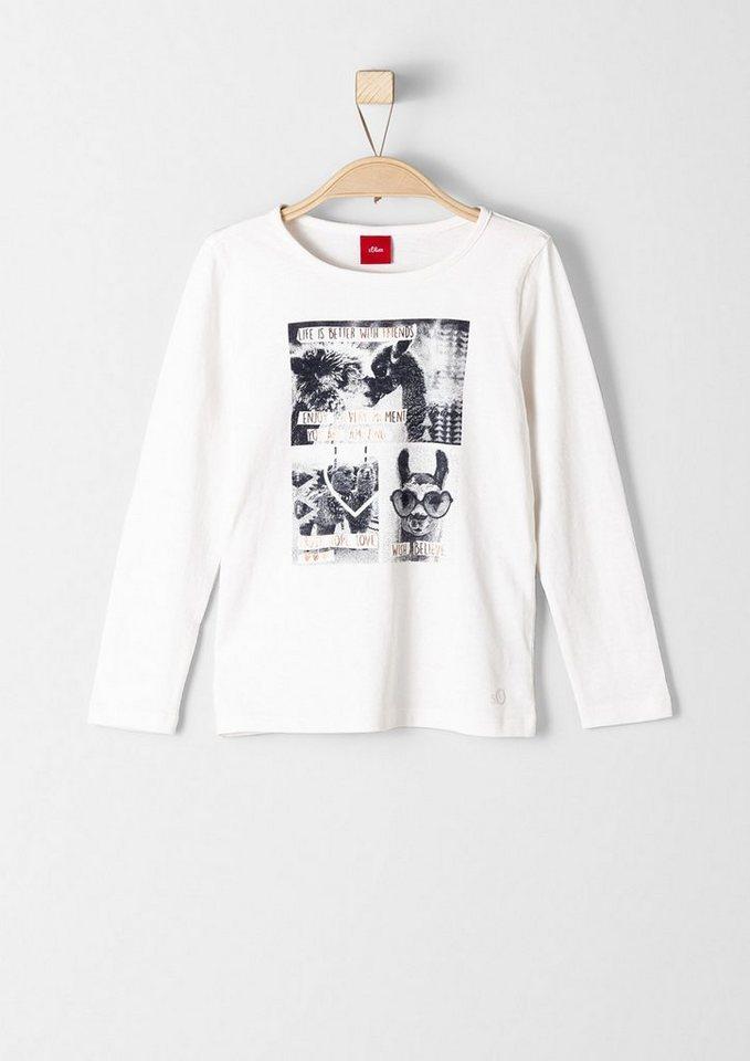 s.Oliver RED LABEL Junior Langarmshirt mit Foto-Printcollage für Mädchen in ecru